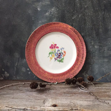 Royal Winton Grimwades China Plate: 22Kt Gold Decorative Dinner Plate, Floral Center Dusty Rose Rim, Cabinet Plate, Vintage Wall Decor
