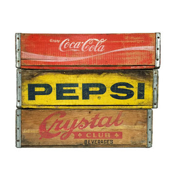 Vintage Soda Crate / Coca Cola / Pepsi / Crystal Club / Rustic Wooden Storage Bin / Vintage Advertising Container / Unique Shadow Box