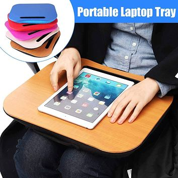Portable Laptop Table Tray Lapdesk Knee Lap Handy Computer Reading Writing Table Tray Cup Holder Laptop Stand Pillow for Office