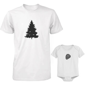 Daddy and Baby Matching White T-Shirt / Onesuit Combo - Pine Tree and Pinecone