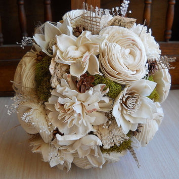 Rustic Woodland Moss Bouquet, Wrist Corsage, Boutonniere. Rustic Woodland Wedding Bridal Bouquet. Made to Order.