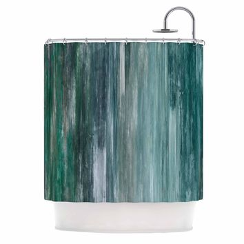 "Ebi Emporium ""Waterfall Blur, Teal Blue"" Teal Blue Abstract Coastal Painting Mixed Media Shower Curtain"