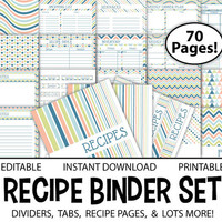 Printable Recipe Binder Set – Editable 8.5x11 PDF – 70 Page INSTANT DOWNLOAD Meal Planner Recipe Organizer Shopping List Inventory Calendar