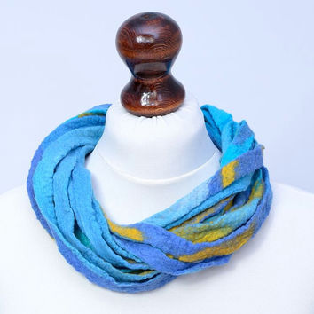 Azure blue fiber ribbon necklace of twist, multi strand design - felt, wool multistrand twisted jewelry [N98]