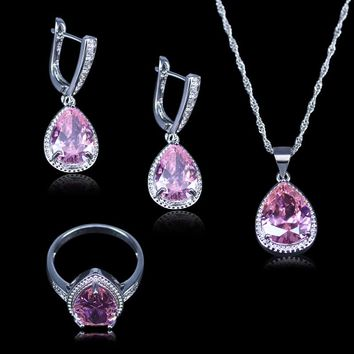 L&B Amazing Wedding/Party /Engagement Jewelry Sets 925 Stamp Silve Color Pink Crystal Bracelets Pendant Earring Ring