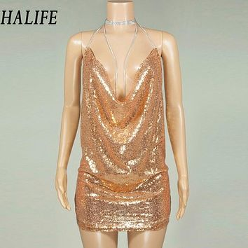 Women Sequined Sexy Spaghetti Strap Glitter Party Dresses Latest Trends Summer Hollow Backless Bodycon Mini Club Slip Dress 0115
