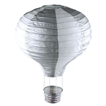 Striped Paper Hot Air Balloon Hanging Decor, 15-Inch, SIlver