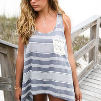 Nantucket Island Gray & White Stripe Lace Pocket Tank