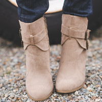 Mad Maxx Double Buckle Suede Booties (Nude)
