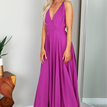 V-neck Gown Purple