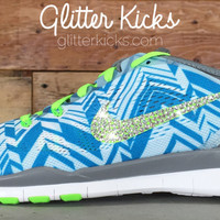 Nike Free Run TR Fit 5 PRT By Glitter Kicks - Customized With Swarovski Crystal Rhinestones - Blue/Green