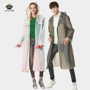 Adult Men Women Long PVC Raincoat Women Men Adult Clear Plastic Rain Coats For Walking Camping Rain Gear Knee Length Raincoat