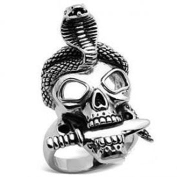 Skull With Snake Ring For Men