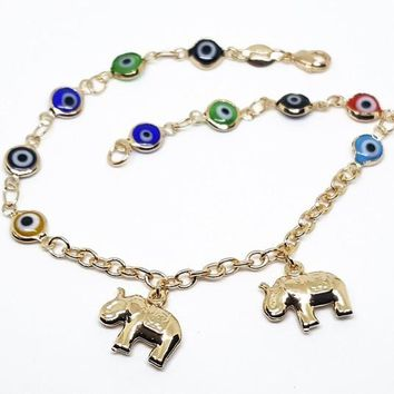 "1-0095-f10 18kt Brazilian Gold Layered Multicolor Evil Eye Anklet with Elephant Charms. 9.25"", 3.5mm links, 6mm eyes."