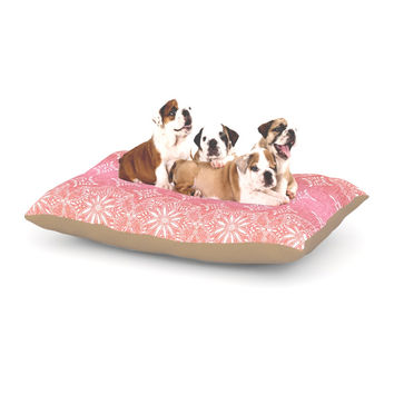 "Suzie Tremel ""Medallion Red Ombre"" Pink Dog Bed"
