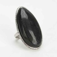 Large Stone Arrow Ring- Black