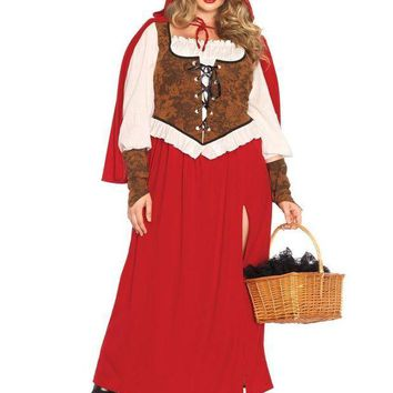 DCCKLP2 3PC.Woodland Red  Riding Hoodhigh slit dress,wrist cuffs,hooded cape in RED