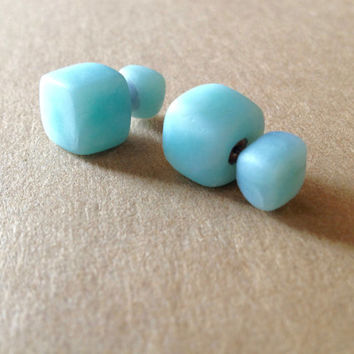 Double Sided Earrings Ice Blue Double Pearl Earrings Ear Jacket Statement EarringsMinimalist Earrings Chic Earrings Modern Earrings Ear Stud