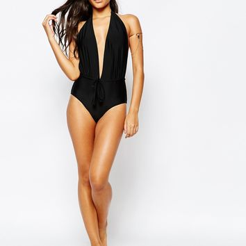 Missguided Plunge Halter Neck Colour Block Swimsuit at asos.com
