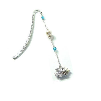 Beaded Bookmark ,  Swarovski Crystal Beads  , Swarovski Pearl ,  By The Sea Bookmark , Fish  Charm , Gift For Her