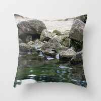 Stones on the beach Throw Pillow by Tanja Riedel