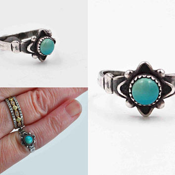 Vintage Sterling Silver & Blue Turquoise Ring, Native American, Navajo, Southwestern, Size 4 1/4, Oxidized, Pinky, So Pretty! #c439