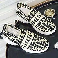 FENDI Hot Sale Newest Women Casual Knit Running Sport Shoes Sneakers Yellow