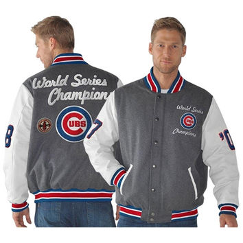 Chicago Cubs Wool Commemorative 1907 and 1908 World Series Champions Full Zip Varsity Jacket - Royal Blue/White/Charcoal