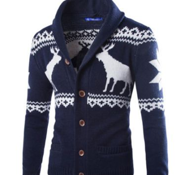 Mens Christmas Moose Button Up Cardigan Sweater