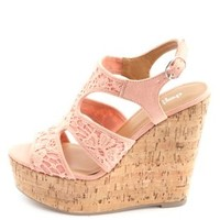 Crochet Lace Cut-Out Platform Wedges by Charlotte Russe - Coral