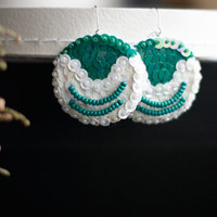 Hand embroidered earrings - Christmas Green sequins - textile jewelry - dangle beads