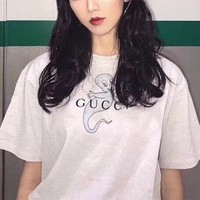 """Gucci"" Women Casual Vintage Cartoon Elf Letter Print Short Sleeve T-shirt Top Tee"