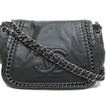 DCCKJ1A CHANEL Stylish Ladies Pure Black Leather Metal Chain Shoulder Bag I