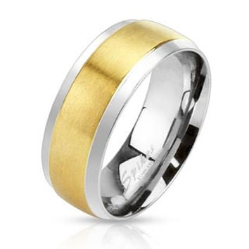 Center Gold IP Step Edge 2-Tone Band Ring Stainless Steel