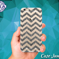 Silver Gray Sparkle Chevron Pattern Glitter Cute Tumblr Inspired Custom Clear Transparent Rubber Case Cover For iPhone 6 and iPhone 6 Plus +