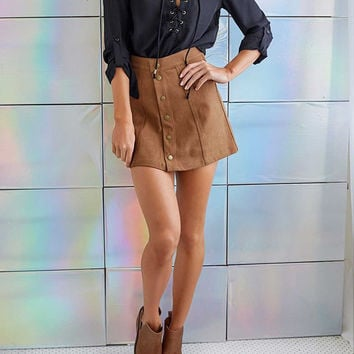 Suede Front Buckle Package Hip A Line Skirt
