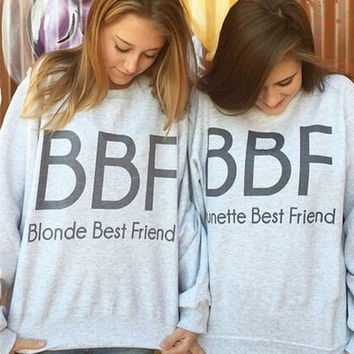 Women Hoodies Brunette Best Friends BBF Women Pullovers BFF Blonde Best Friend Print Harajuku Girl Friends Sweatshirt [9714854735]