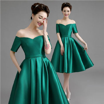 2016 New Knee Length Off Shoulder Half Sleeves Hunter Green Color Satin Custom Made Prom Dress Simple Style Zipper Back