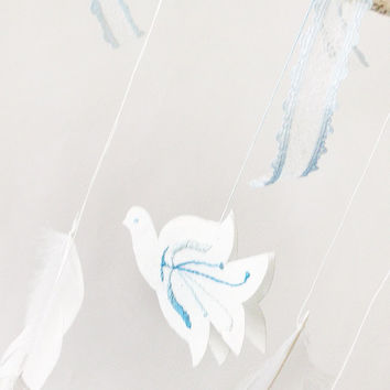 Dreamcatcher, nursery mobile, white, blue, spring dream catcher, blue bird, white feather, hanging, for baby