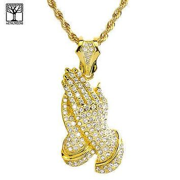 "Jewelry Kay style Gold Plated Iced Out PRAY Hand Pendant 26"" Heavy Rope Chain Necklace NA 1514 G"