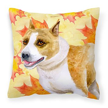 American Staffordshire Fall Fabric Decorative Pillow BB9905PW1818