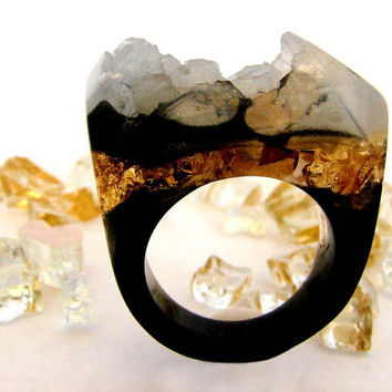 CUSTOM Agate Druzy Gold Resin Ring, GoldRush Ring, Black Rings, OOAK Faux Agate Druzy Rings, Black Trending Unique Rings, ResinHeavenUSA