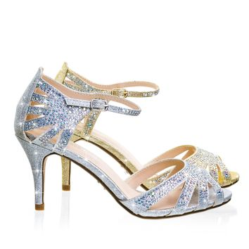 Reason Silver by City Classified, Mid Heel Rhinestone Glitter Gladiator Wedding Party Sandal w Ankle Strap