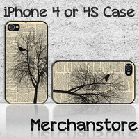 Unique Vintage Tree Silhouette Custom iPhone 4 or 4S Case Cover
