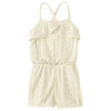 Kandy Kiss Lace Flounce Romper - Girls 7-16 (White)