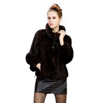 Autumn and winter Real genuine natural knitted mink fur coat women fashion knit jacket ladies outwear overcoat