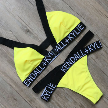Yellow Letter Bikini Sets  Beach Bikini Brazilian Bathing Suits