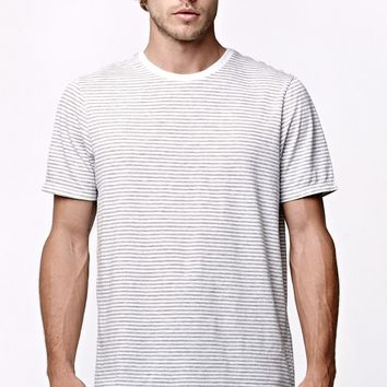 On The Byas Striped Drop Tail Longline Crew T-Shirt - Mens Tee - Gray