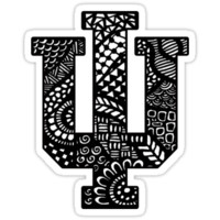 'Indiana University Zentangle' Sticker by Lauren Weinstein