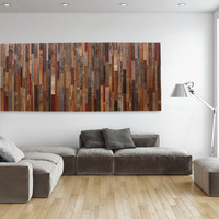 Wood wall art, made of old barn wood, large strips